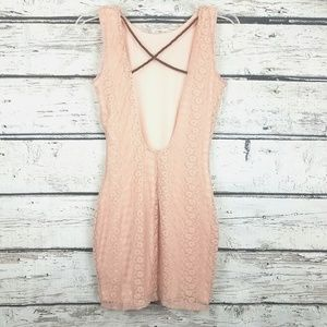 Dusty rose lace crisscrossed back mini dress